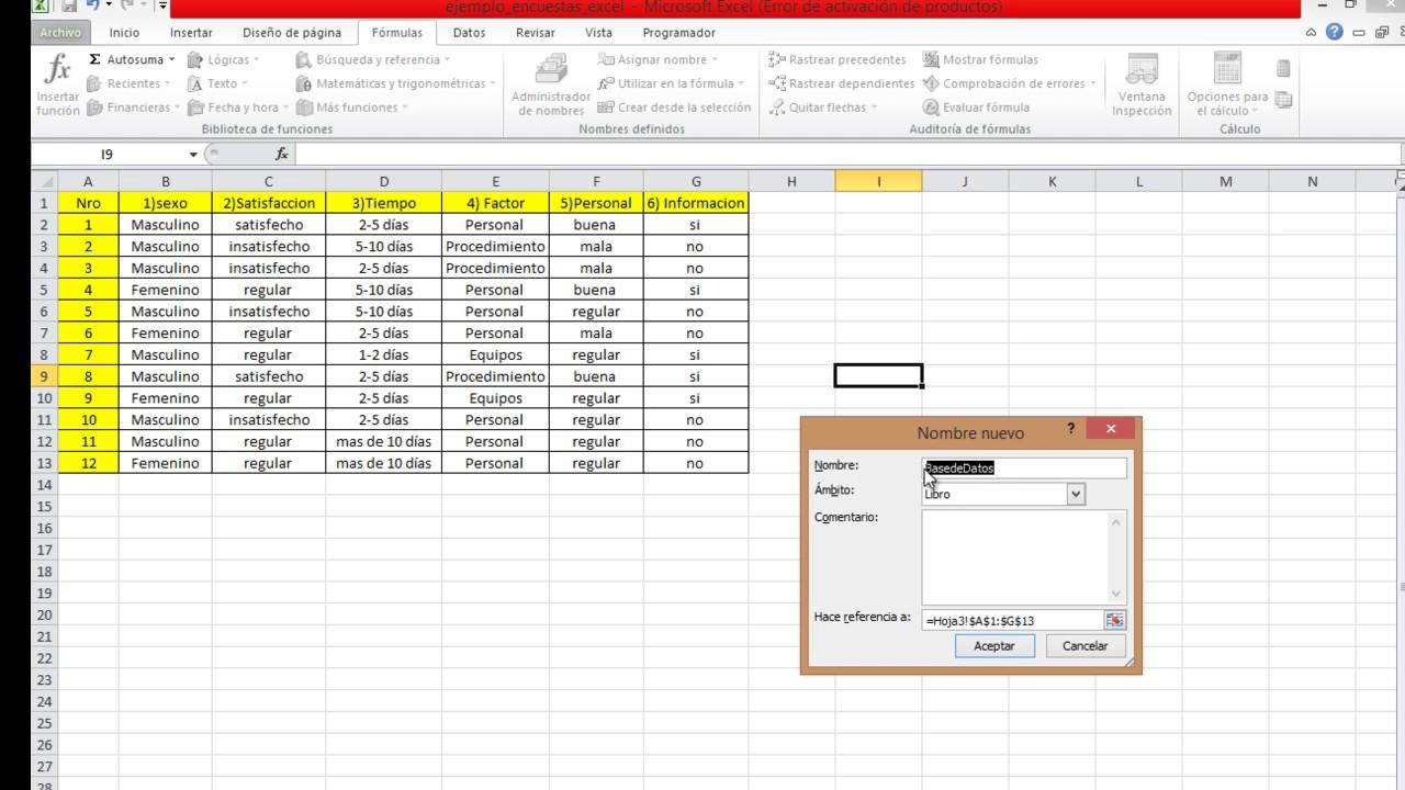 Como Tabular Una Encuesta En Excel Tutorial