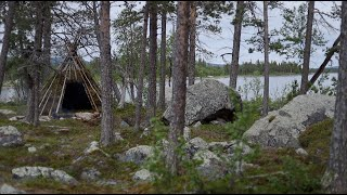 Making a permanent bushcraft camp - tipi from natural materials  - [part 1 - short version]