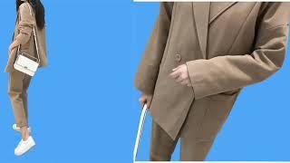 캐주얼 솔리드 여성 바지 정장 노치 칼라 재킷 재킷 및…