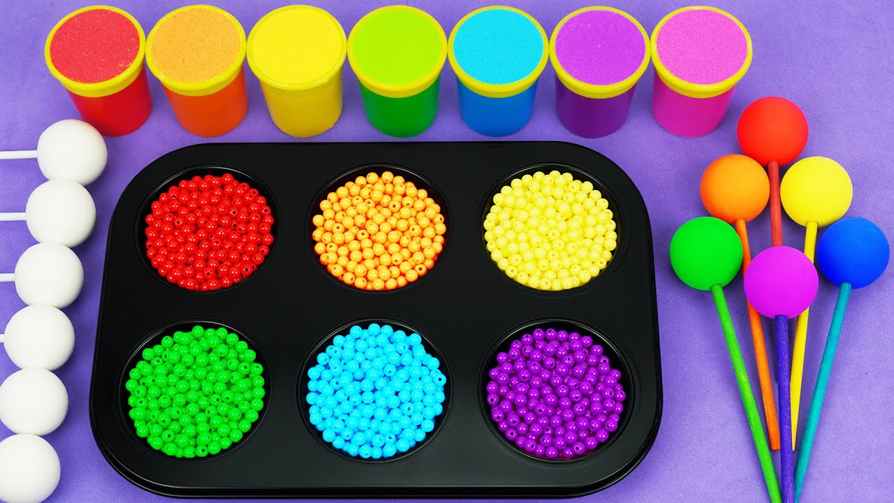 Satisfying Video l How To Make Playdoh Rainbow Lollipop Candy with Color Tray Circle ASMR #125