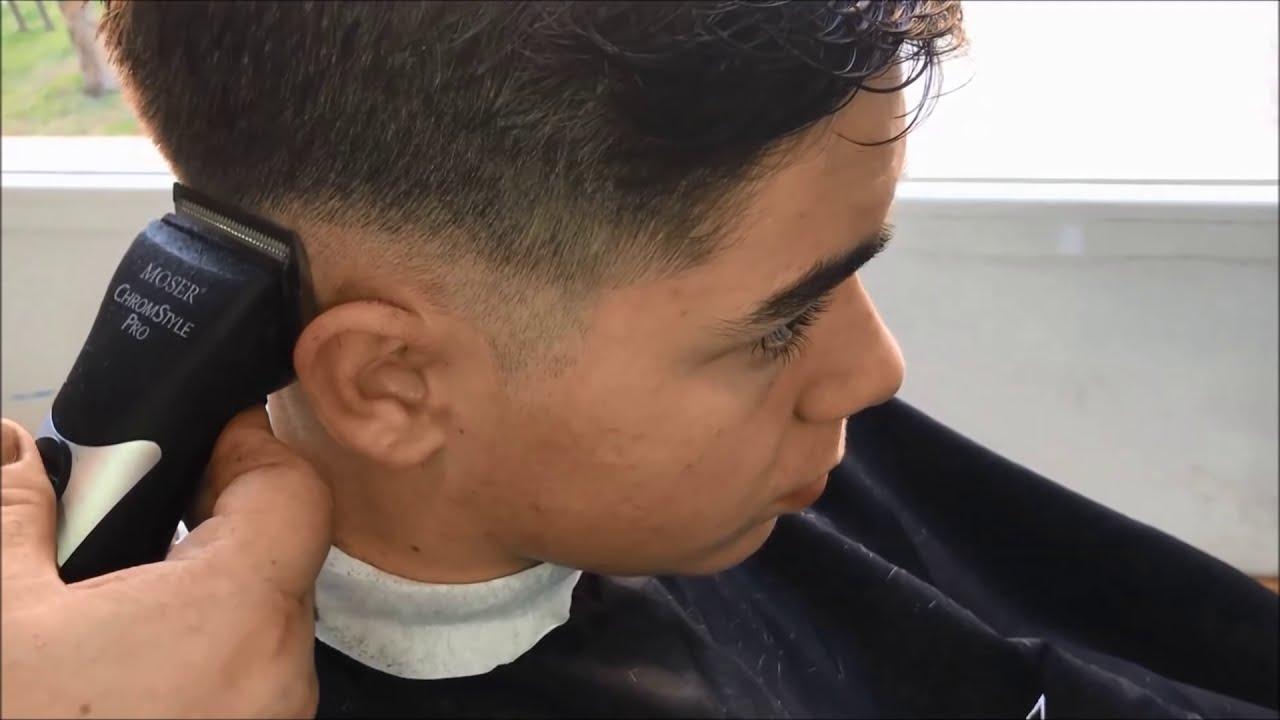 Corte pelo hombre degradado paso a paso
