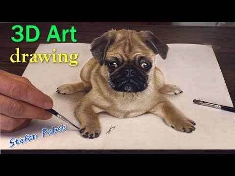 3D Drawing of sweet Pug Dog│Trick ART speed painting