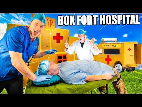 Box Fort Hospital Challenge With Real Patients & Gadgets!  24 Hour Box Fort City Challenge Day 2