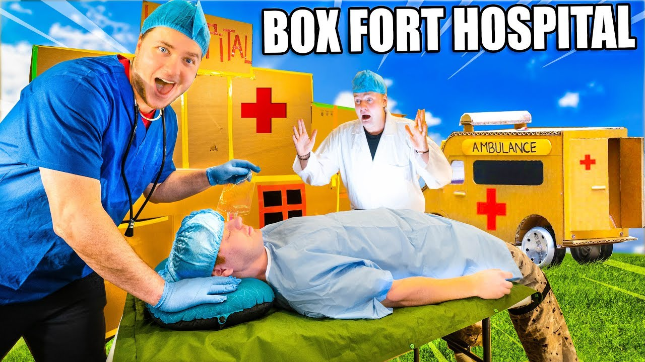 Box Fort Hospital Challenge With Real Patients & Gadgets! - 24 Hour Box Fort City Challenge Day