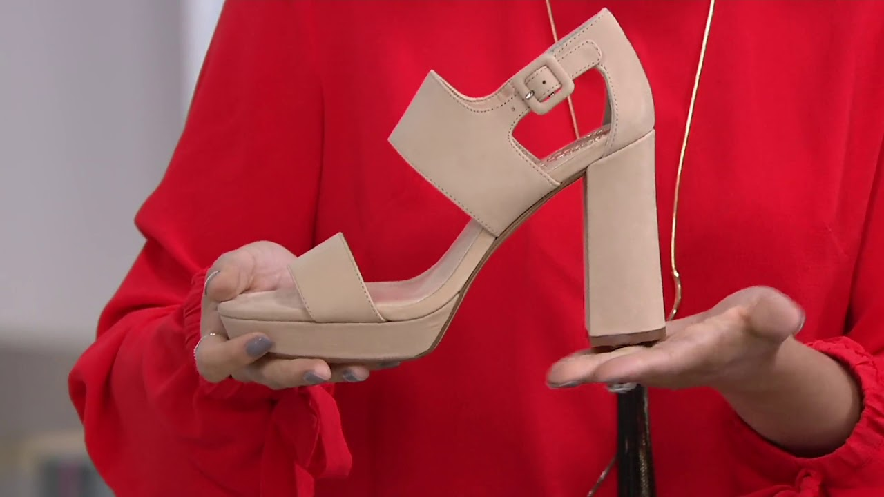 afb0ad4346 Vince Camuto Leather Block Heeled Sandals - Jayvid on QVC - YouTube