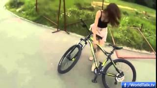 Girl Loses Her Skirt While Riding a Bicycle