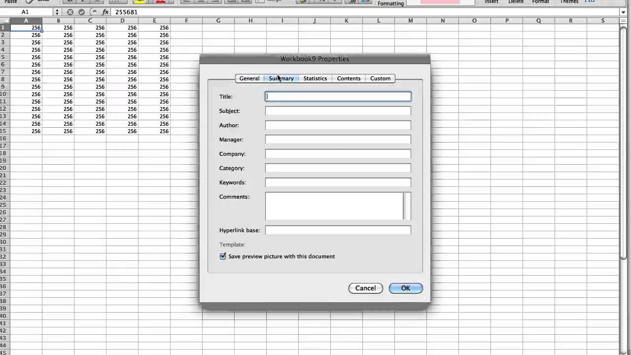 change author name in excel sheet