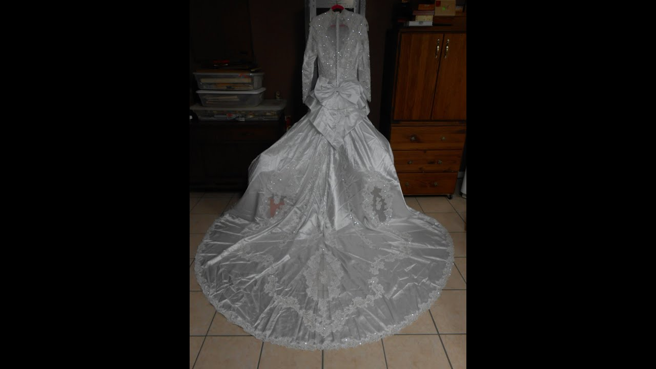 SOLDPrice Reduced Whole Wedding Dress Gown For Sale W Detachable Train Beads Sequins