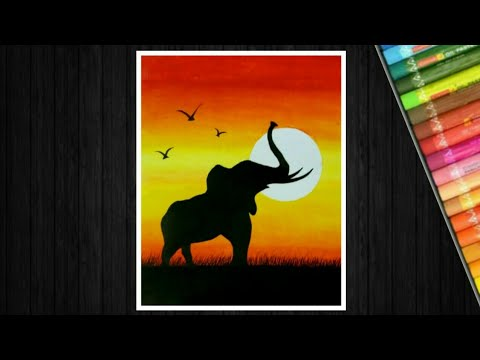 Elephant sunset drawing with oil pastel - step by step