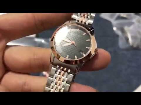 46639a4d3 Gucci G-Timeless Ladies 27mm Black Dial With Bi-colour Rose Gold   Silver  Bracelet Watch YA126512