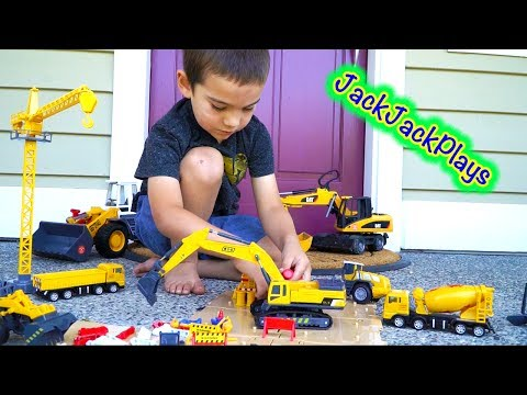 Construction Vehicles for Children - Toy Unboxing + Review: Excavator, Crane, Loader Set