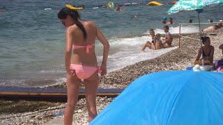 Beach in Budva Montenegro Пляж в Будве Черногория