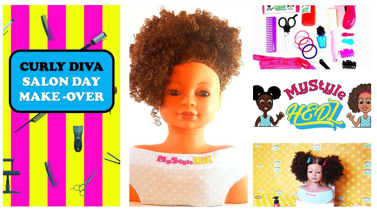 Curly Hair Toy Styling Head Doll Makeover.