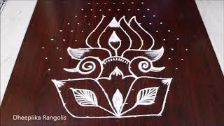 Creative New peacock & lotus rangoli design with 13x7 dots l peacock lotus kolam l chukkala muggulu