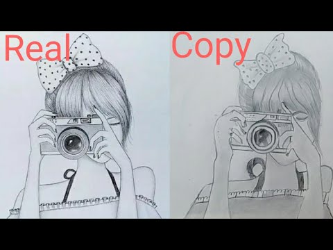 A girl with holding the DSLR camera drawing | farjana ...