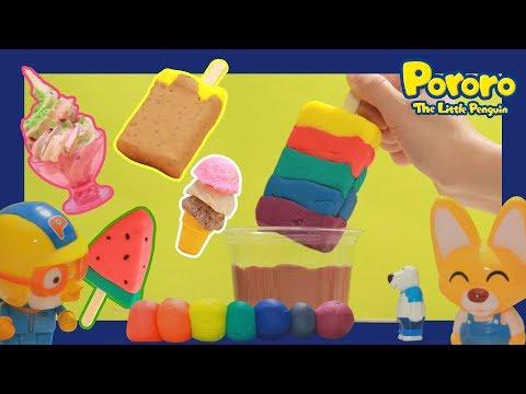 Pororo Play Doh icecream popsicles scoops DIY!! | Rainbow Popsicle palette