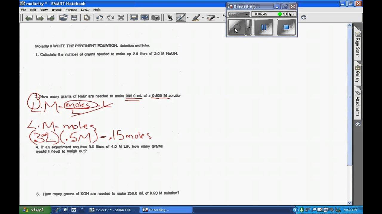 Cvt Reivew Of Molarity I And Ii Worksheet Youtube