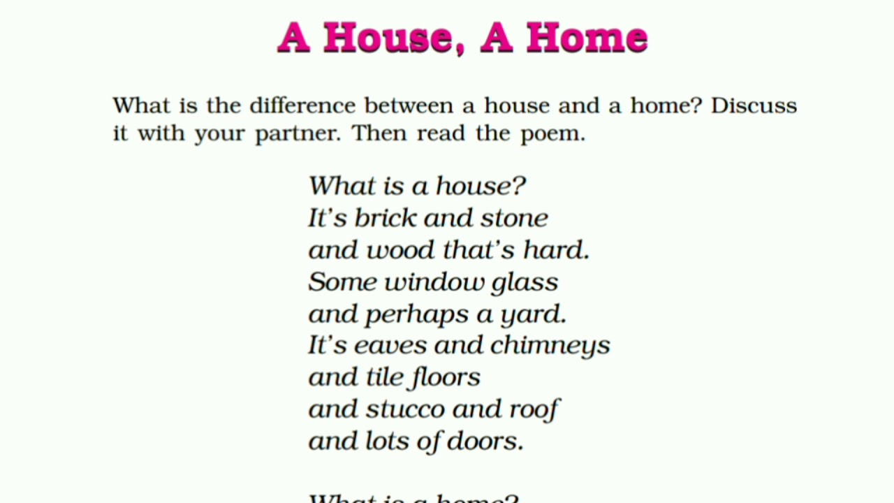 NCERT Class 6 English - Honeysuckle - A House A Home - Poem | Brief Hindi  Explanation |