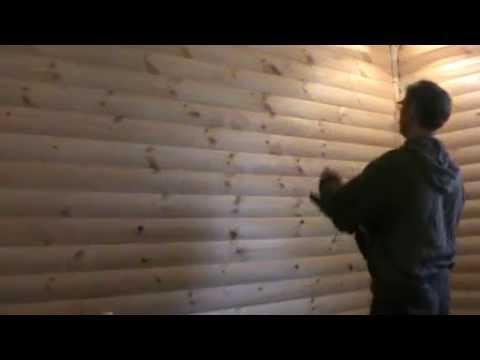 Вариант отделки блок-хаусом комнаты по неровным стенам 1