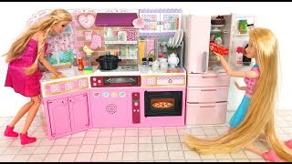 Barbie doll Japanese Kitchen Refrigerator Toy unboxing ثلاجة المطبخ باربي Barbie Cozinha Geladeira