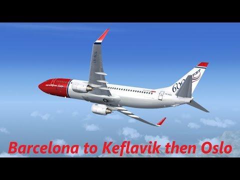#FlyToIceland Norwegian PMDG 737 NG | Barcelona LEBL - Keflavik BIKF - Oslo ENGM (Vatsim)