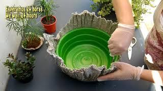 DIY Vaso para Mini Jardim Feito de Toalha e Cimento