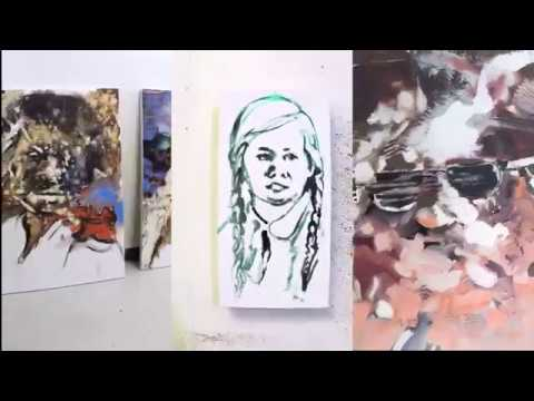Art studio combined videos tour. Portrait painting in oil on canvas. Artist in Residence.