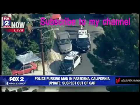 Police are chasing a suspect in Pasadena, California : Suspect out of car