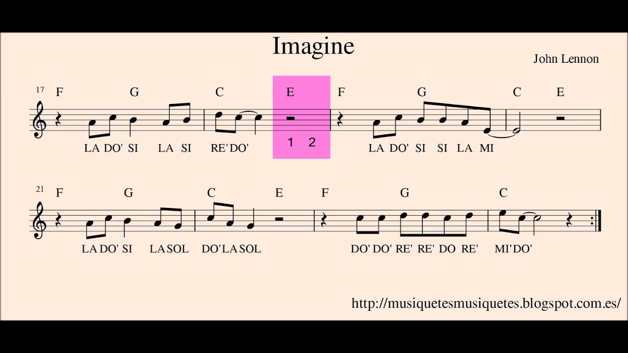 Imagine. John Lennon. Versión 02.  Partitura flauta + audio. SI melodía. (C instruments)