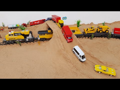 Trucks / Bus and Cars / Building overpass in the sand