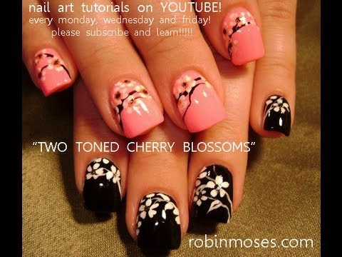 2 nail art tutorials easy nail art for beginners cherry blossom nails youtube