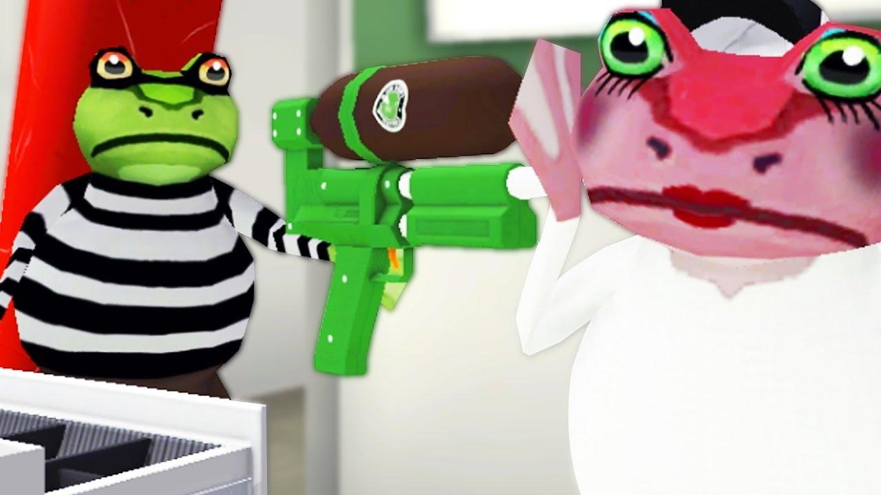 CRIMINAL FROG ROBS COFFEE SHOP! – Amazing Frog – Part 114 | Pungence