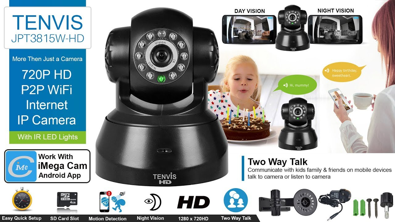 How to Set up TENVIS JPT3815W-HD 720P HD P2P WiFi Internet IP Camera With  Mobile & Desktop