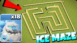 "NEW ice GOLEm MAZE BASE!! ""Clash Of Clans"" tROLL RAIDS!!"