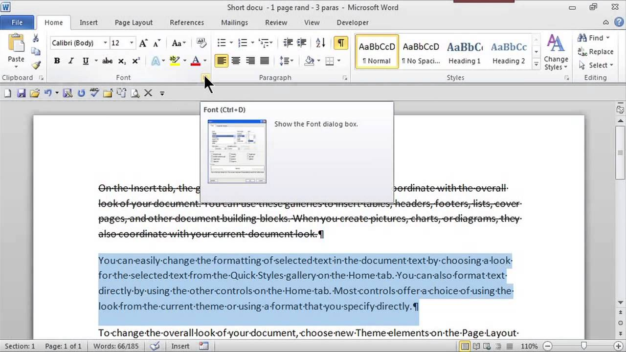 How To Show A Word Crossed Out Ms Word Skills Youtube