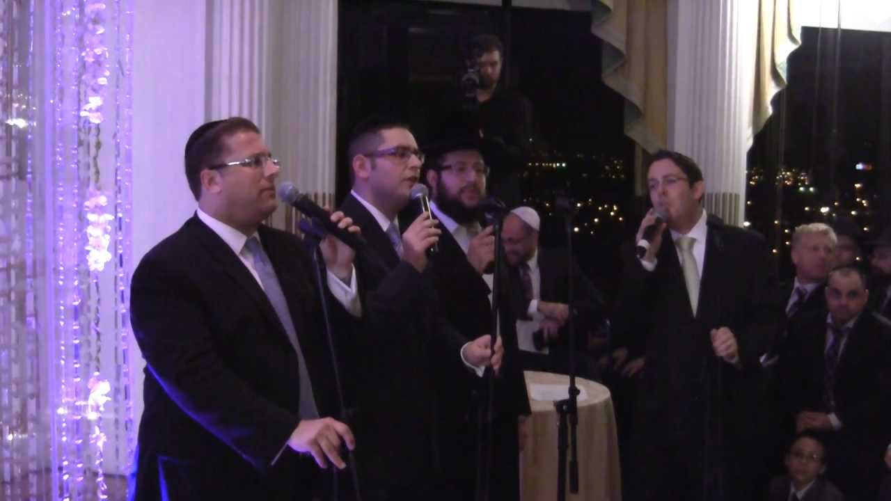 Shloime Dachs, Dovid Gabay, Shragee Gestetner and Yonatan Shlagbaum Sing and Walk Down at a Chupa