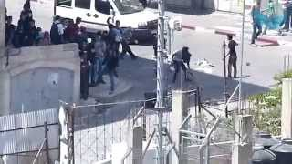 Palestinian rioters attacking with stones during Pesach holiday in Hebron 17-18.4.14