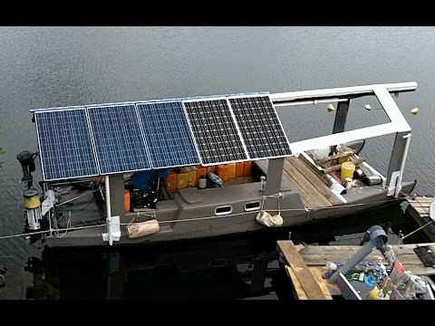 Mad guy known for building giant robot-spiders, has now moved to a remote island in Panama and just has built a solar-powered fiberglass boat