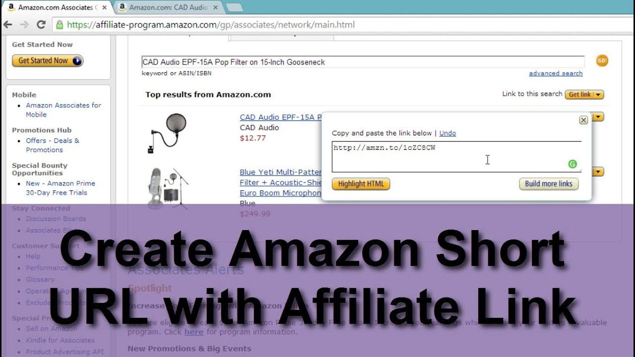 Create Amazon Short URL with Affiliate Link-amzn to