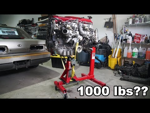 HARBOR FREIGHT ENGINE STAND MODIFIED FOR HUGE ENGINE!!