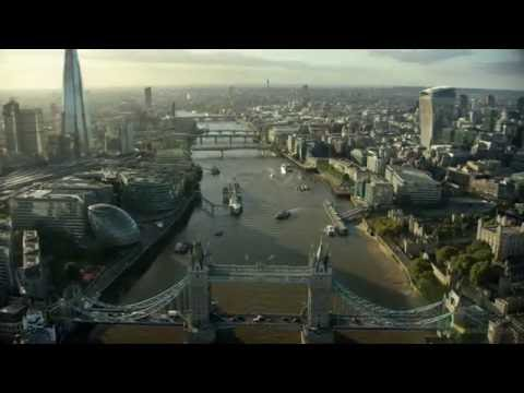 4K London aerial filming. River Thames, City of London, Shard shot in 4K