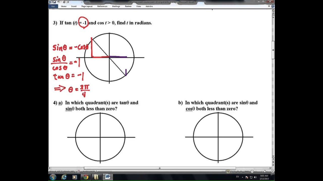 unit circle trig, no calculator quiz - YouTube
