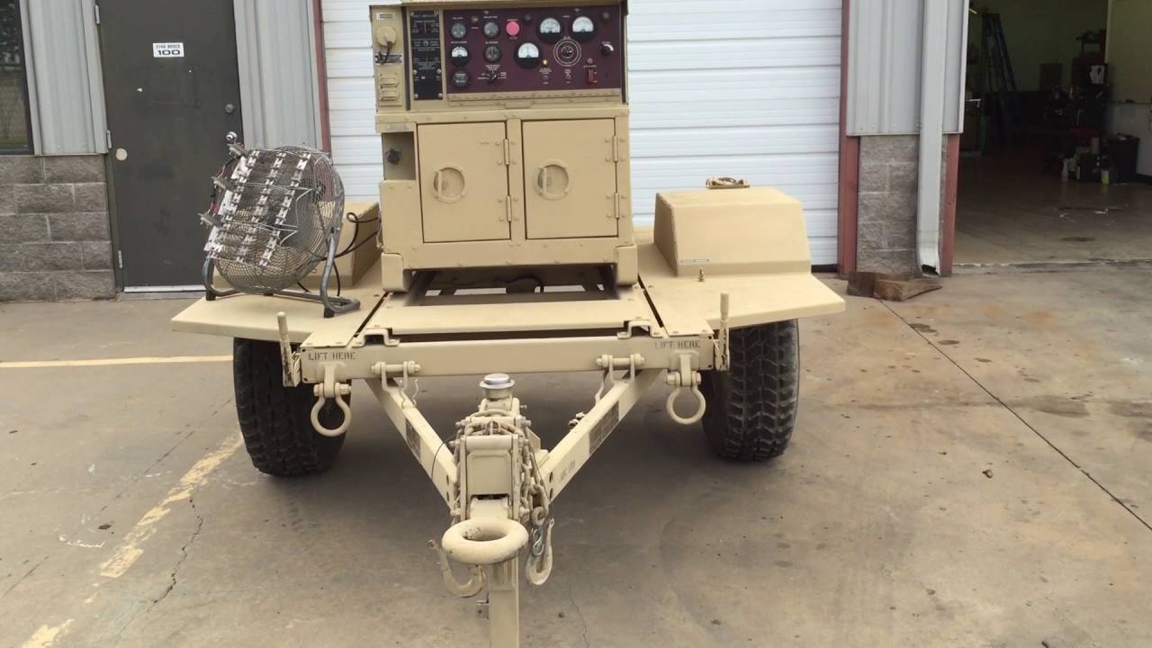 Trailer mounted MEP-803A 10KW Military Tactical Quiet Diesel Generator Load  Test for eBay ad
