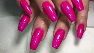 watch me work acrylic refill with loose glitter application on gel