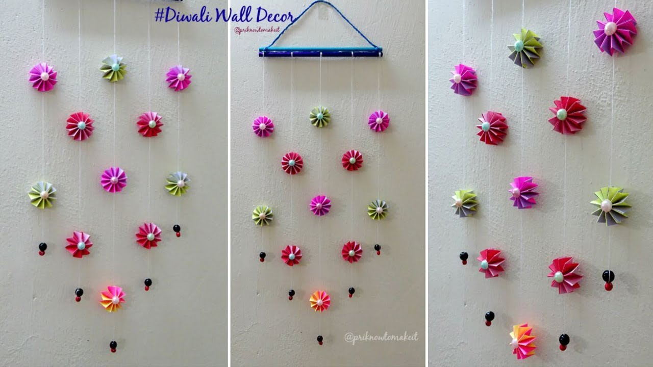 Diy wall decoration idea how to make easy paper hanging for diwali also rh youtube