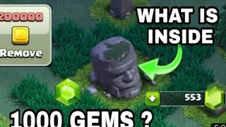 How Many Gems Do You Get From Removing The Old Barbarian Statue In Clash of Clans?