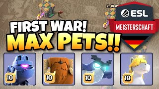 PRO PLAYERS USE MAX PETS IN FIRST ALL TH14 WAR | Clash of Clans eSports
