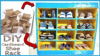How to Make Cardboard Shoe Rack at Home with Cardboard