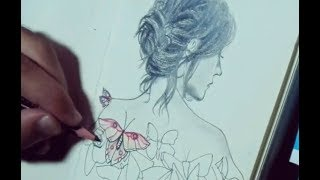 Hidosh Drawing - Girl with butterfly decoration