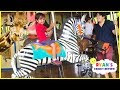 Ryan feeding giraffes and learn zoo animals for Kids!!!